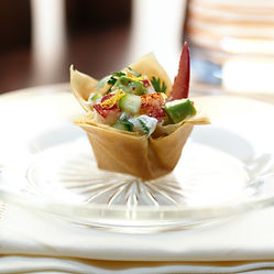Holiday lobster salad in wonton cups