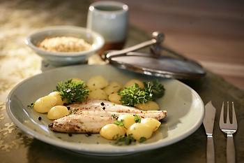 Branzino and roasted baby potatoes