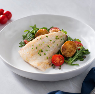 Poached Blue Cod with Crispy Potatoes
