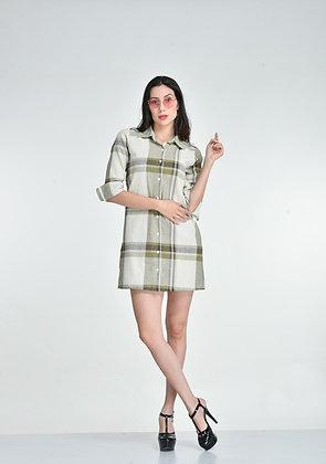 Olive checks shirt dress