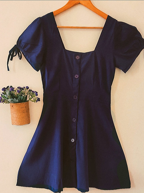 Blue buttoned dress with tie up sleeves