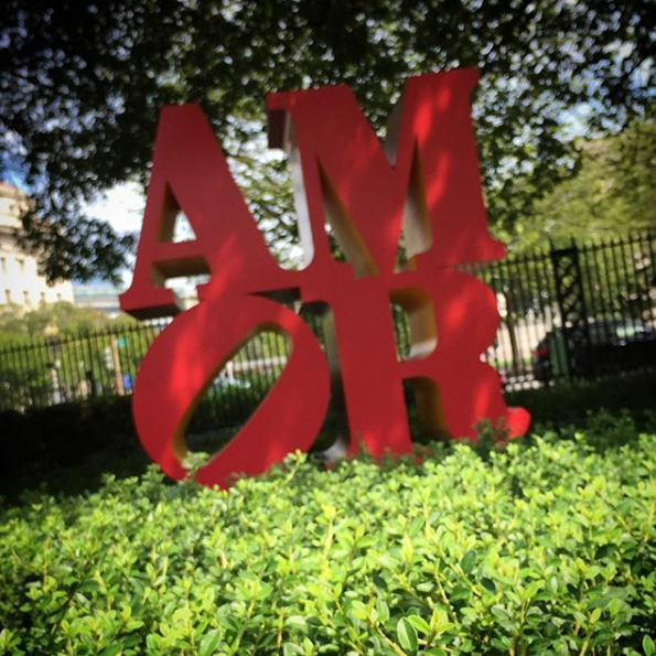 AMOR, Robert Indiana — I saw this on my last visit to Washington D.C. at the National Gallery of Art Sculpture Garden.