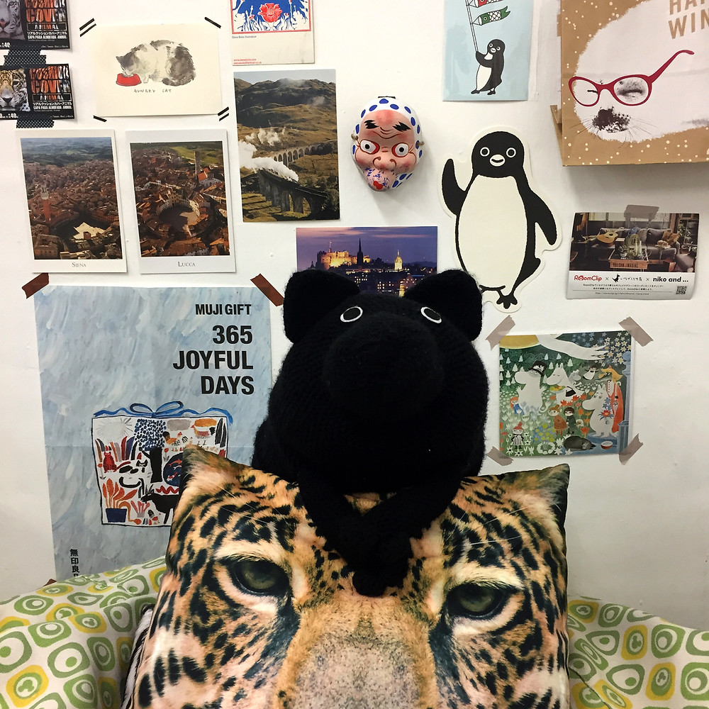 A photo of my friend Black Dog in my studio instead of me.