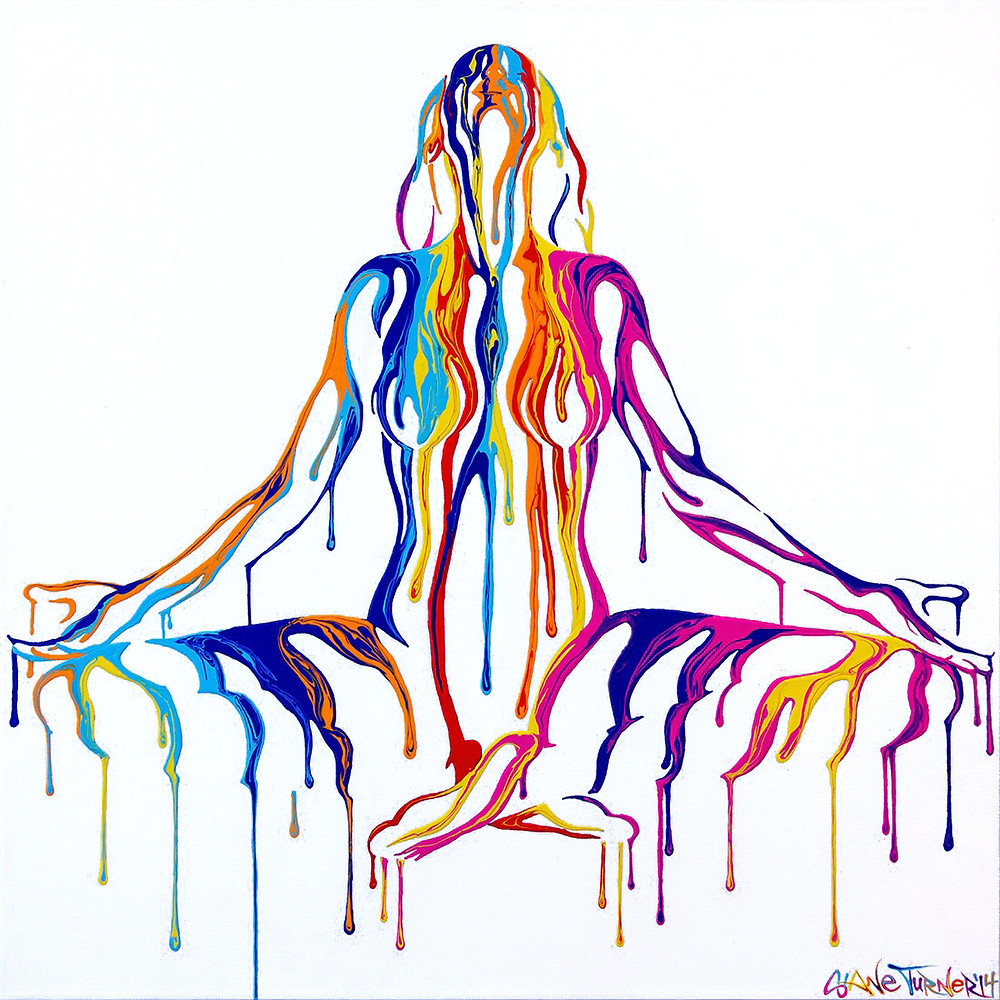 Transcendence by Shane Turner Surreal urban pop art painting of a nude woman created out of dripping colorful psychedelic. Lotus mediating type yoga pose. Painted using bright acrylic glossy paints on canvas.