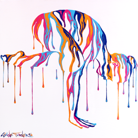 Psychameleon Transcendence 4.0 by Shane Turner Art. Surreal woman doing yoga crow pose, made of dripping colorful paint.