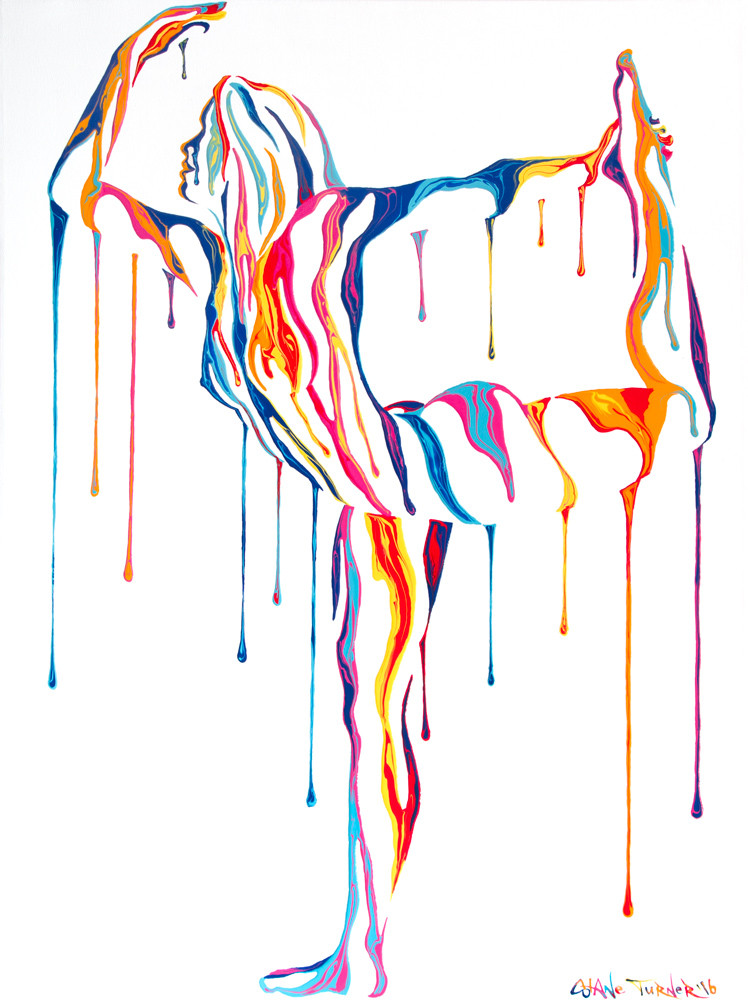 Transcendence 3.0 by Shane Turner a painting of a woman doing nude dancers yoga pose, created out of dripping paint and negative space. Pop art style colors on white background.