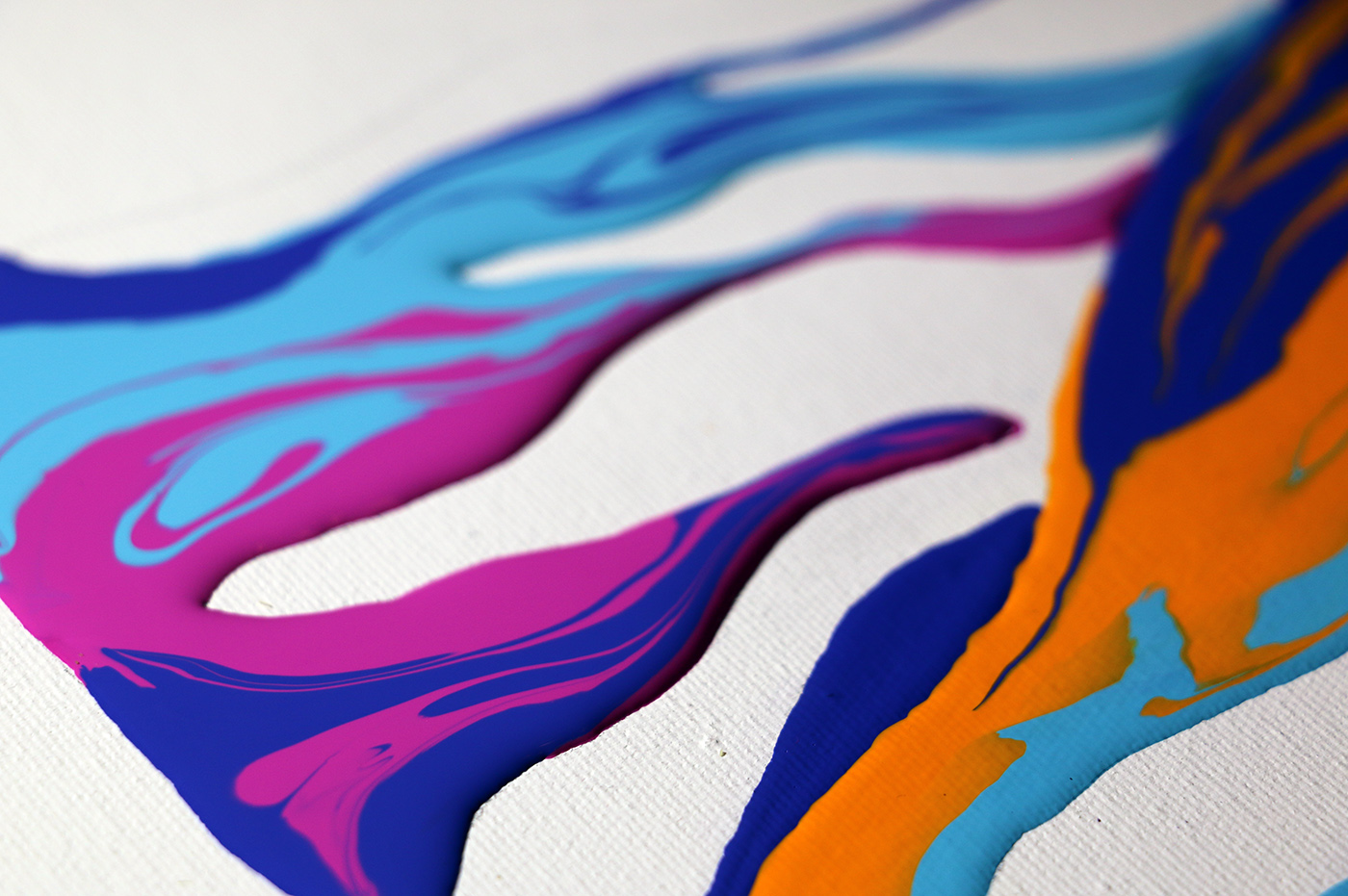 Psychameleon Transcendence 4.0 by Shane Turner. Close-up of raised colorful acrylic paint on white paper.
