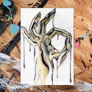 Shane Turner Art ink painting of Midas Touch (Okay)' Ink and coloured pencil on A6 postcard (10.5cm x14.8cm) also from the recent ArtonaPostcard auction. Gold hand making okay symbol. Dripping liquid molten gold dripping off of hand reflecting outside lights.
