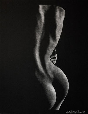 Out of the Shadows 4.0 pointillism drawing by Shane Turner. Female figure's back with hand resting on hip. Ink on paper.
