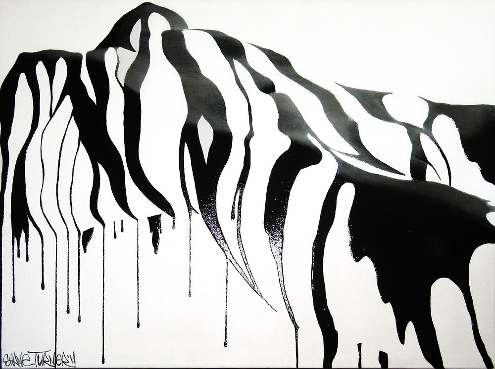 Zebra by Shane Turner. Painting of black liquid pouring over the curves of the feminine form.