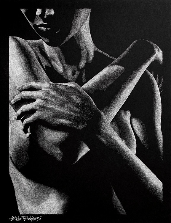 Out of the Shadows 3.0 by Shane Turner. Pointillism dot drawing of artistic nude bodyscape. Standing backside of female figure in black and white created out of dimensional light and negative space. Female figure in white ink on black paper.