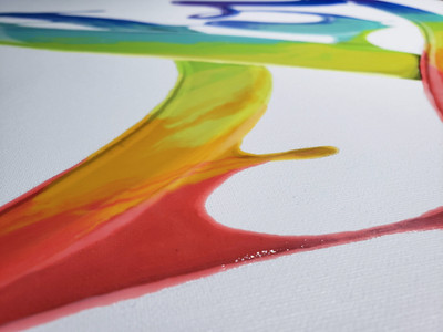 Close up of detials on Power of Love 2.0 painting by Shane Turner. Graffiti of the word love made of dripping rainbow paint on calligraphy cursive lettering. Love Pride 2019