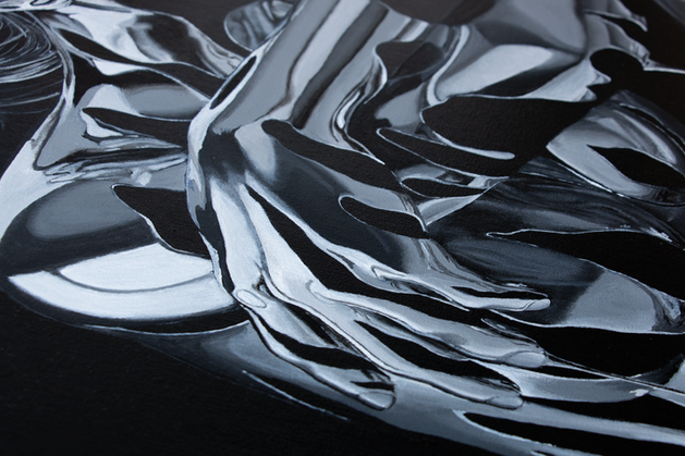 Close up of hand section of 'Sitting, Waiting, Wishing (Argentum)' painting by Shane Turner Art