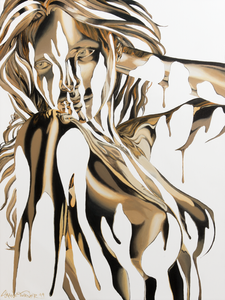 Midas Touch 3 painting by Shane Turner Art. Image of woman made of dripping gold paint with hands in hair. Surreal Acrylic painting on canvas of dripping gold liquid.