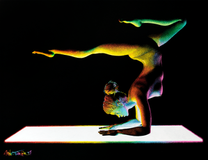 Moving in the Dark 3.0 pointillism drawing by Shane Turner. Painting of nude woman doing yoga scorpion pose on illuminated rainbow yoga mat. Made using stippling technique with colorful paint and ink.