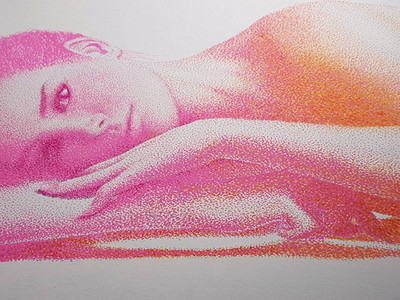 Close up of face and pointillist dots on Radiant Gradient by Shane Turner. Pop art colorful drawing of a woman laying on her side made out of thousands of tiny stippling dots. Shadows are made of bright colorful gradient of pink to yellow orange.