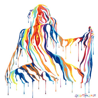 Psychameleon Transcendence 6 acrylic painting by Shane Turner. Image of yoga woman in pigeon pose holding leg made from dripping rainbow paint on body.