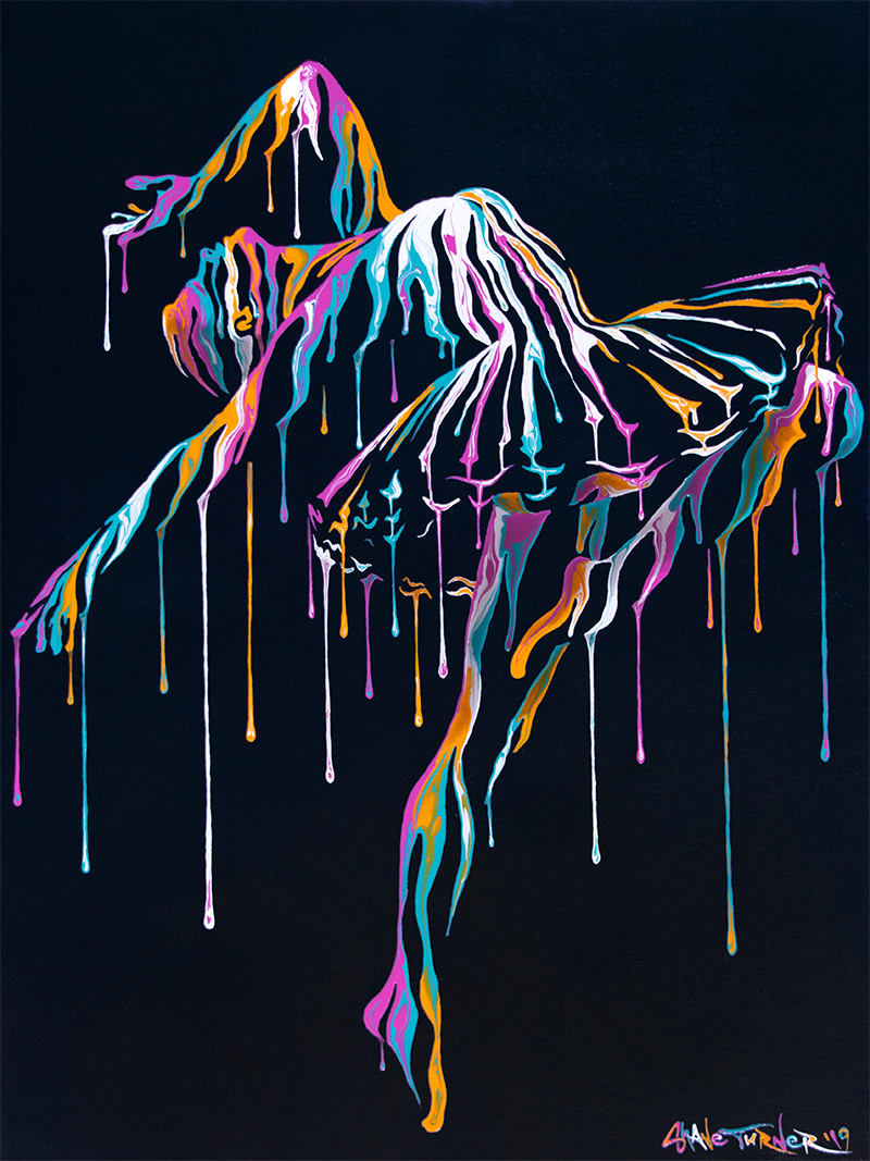 Music In Motion by Shane Turner. Pop art colorful acrylic painting of a dripping ballet dancer en pointe dancing. Wearing a ballet tutu made out of negative space and paint drips.