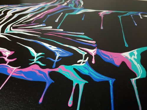 Close up of Music In Motion 2 by Shane Turner Art. Surreal dripping ballerina painting.