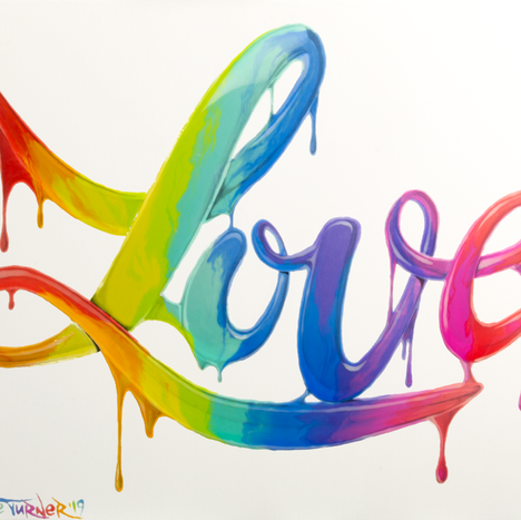 Power of Love 2.0 painting by Shane Turner. Graffiti of the word love made of dripping rainbow paint on calligraphy cursive lettering. Love Pride 2019