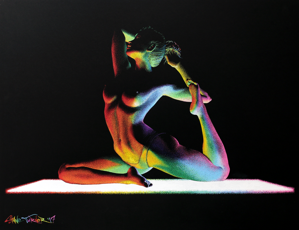 Moving in the Dark 4 by Shane Turner Art. Raibow yoga mat light source shining light across body of woman doing yoga.
