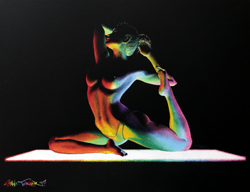 Moving in the Dark 4.0 pointillism drawing by Shane Turner. Painting of nude woman doing yoga pose on illuminated rainbow yoga mat. Made using stippling technique with colorful paint and ink.