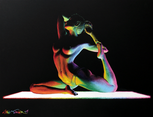 Moving in the Dark 4 by Shane Turner Art. Raibow yoga mat light source shining light across body of woman doing yoga.