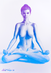 Radiant Gradient 2.0 by Shane Turner. Pop art colorful drawing of a nude woman doing lotus yoga pose made out of thousands of tiny stippling dots. Shadows are made of bright colorful gradient of pink purple to bright blue.
