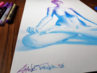 Close up of signature on Radiant Gradient 2.0 by Shane Turner. Pop art colorful drawing of a nude woman doing lotus yoga pose made out of thousands of tiny stippling dots. Shadows are made of bright colorful gradient of pink purple to bright blue.