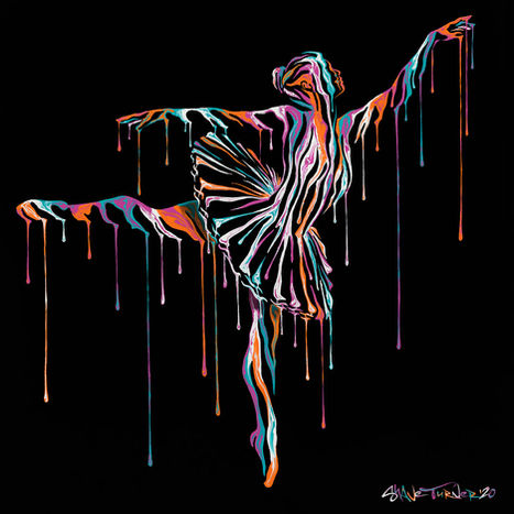Music In Motion 5 painting by Shane Turner. Ballerina Dancer Jumping made of dripping colorful paint on dark background. Acrylic painting on Canvas.