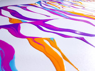 Close up detail of Psychameleon 10 by Shane Turner Art. Colorful dripping paint on canvas.