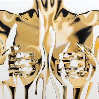 Midas Touch 2.X painting by Shane Turner. Image of woman made of dripping gold paint covering herself with hands in handbra. Acrylic painting on canvas.