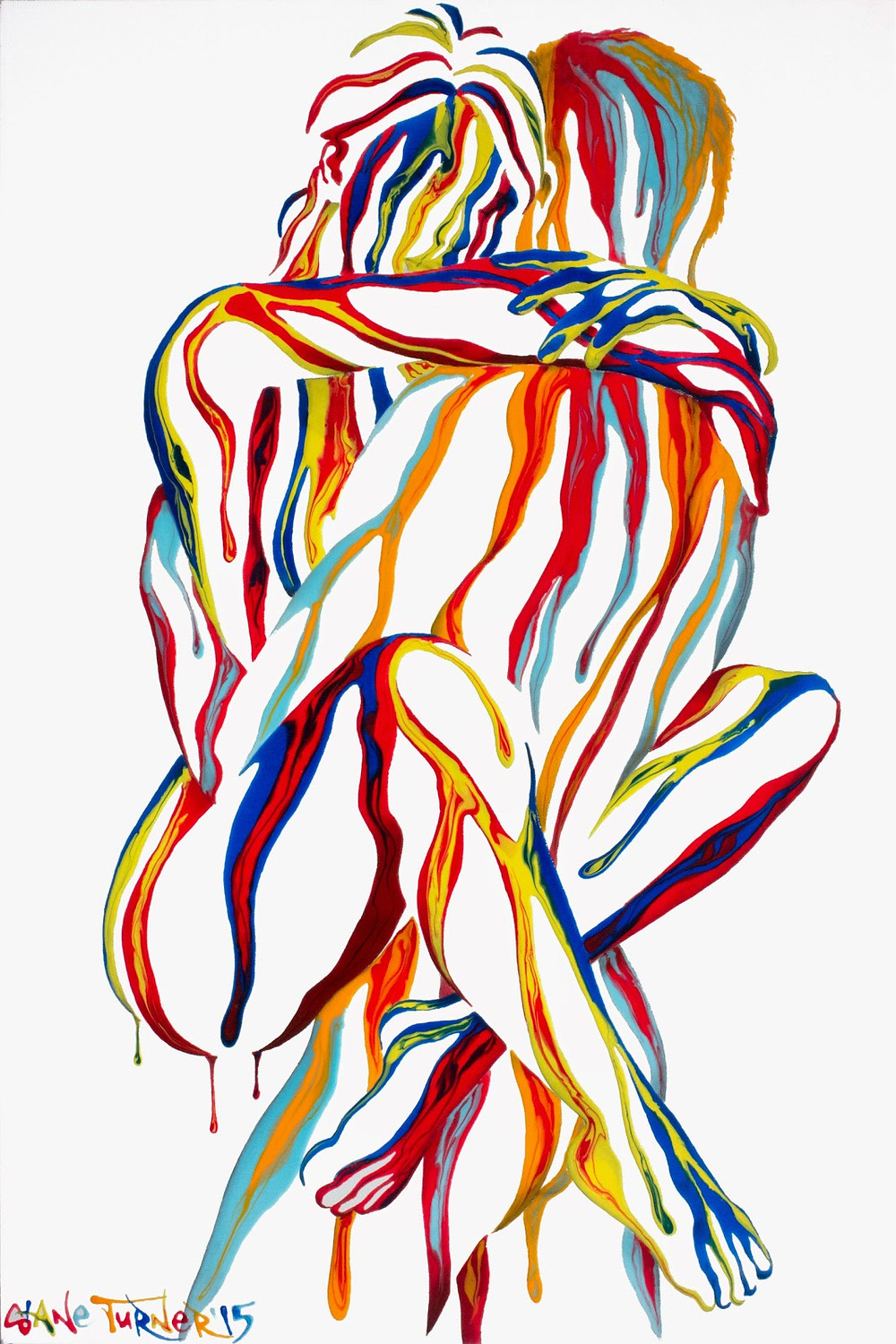 Picture of Right Here In My Arms 2 painting by Shane Turner. Painting of an embrace of a couple. Female figure jumping into males arms. Painted using negative space and colorful acrylic dripping paint on black background.