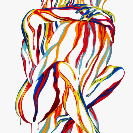 Right Here in My Arms 2.0 by Shane Turner. Dripping surreal Painting of woman jumping into hug with legs wrapped around male figure.