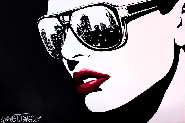 Big City Nights 2.0 Shane Turner. Pop Art noir comic styled painting in black and white of a girl wearing sunglasses with the city of montreal reflected in the lenses looking off into the distance. Alizarin crimson red lips.