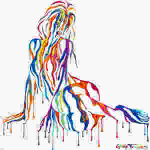 Just Chillin 2.0 by Shane Turner Art. Painting of girl lying on her side, resting on her arms. Made of dripping colorful acrylic paint.