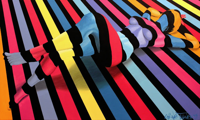 Divided by Night 3.0 Shane Turner. Surreal colorful painting by Montreal based artist Shane Turner of illusion of woman lying on ground made of colorful stripes.