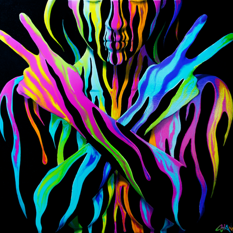 Painting by Shane Turner Art. Surreal Woman covered in neon dripping paint holding up her arms with two peace signs.