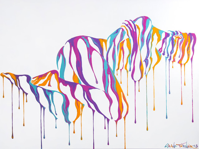 Psychameleon 10 by Shane Turner. Candy colored painting of a female figure lying down. Negative space and dripping colorful paint.