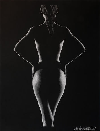 Out of the Shadows 5.0 pointillism Drawing by Shane Turner artist. Artistic black and white nude woman from behind with arms on hips.