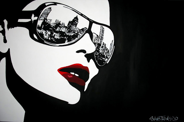 Big City Nights Shane Turner. Comic inked style painting of woman in glasses with the reflection of Montreal in the sunglasses.