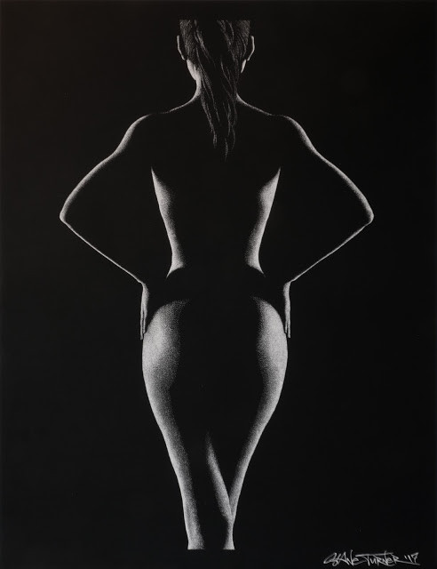 Out of the Shadows 5.0 by Shane Turner. Pointillism dot drawing of artistic nude bodyscape. Standing back of figure in black and white created out of dimensional light and negative space. Female figure in white ink on black paper.