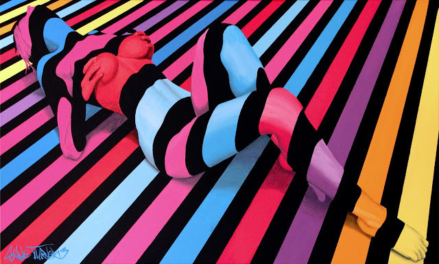 Divided by Night 2.0 Shane Turner. Surreal pop art painting of woman created out of multicolored stripes by Montreal based artist Shane Turner.
