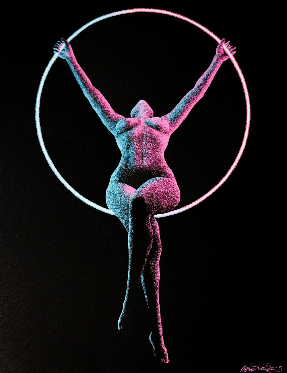 Moving in the Dark 2 by Shane Turner Art. Multi colour light gel. Female nude figure doing aerial ring acrobatics. Pointillism stippling drawing with dots.
