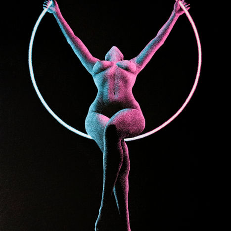 Moving in the Dark 2.0 pointillism drawing by Shane Turner. Painting of nude woman doing acro yoga on aerial ring, lit with pink and blue light. Made with pointillism dot technique.