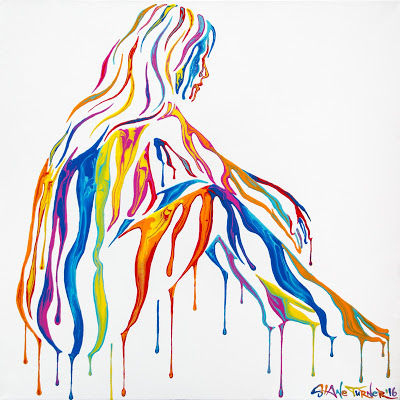 Psychameleon Just Chillin' painting by Shane Turner art. Dripping colorful paint over invisible nude woman in seated position on white background.