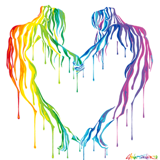 Making Love by Shane Turner - Colorful Dripping paint on women doing acro yoga making a heart shape with their bodies