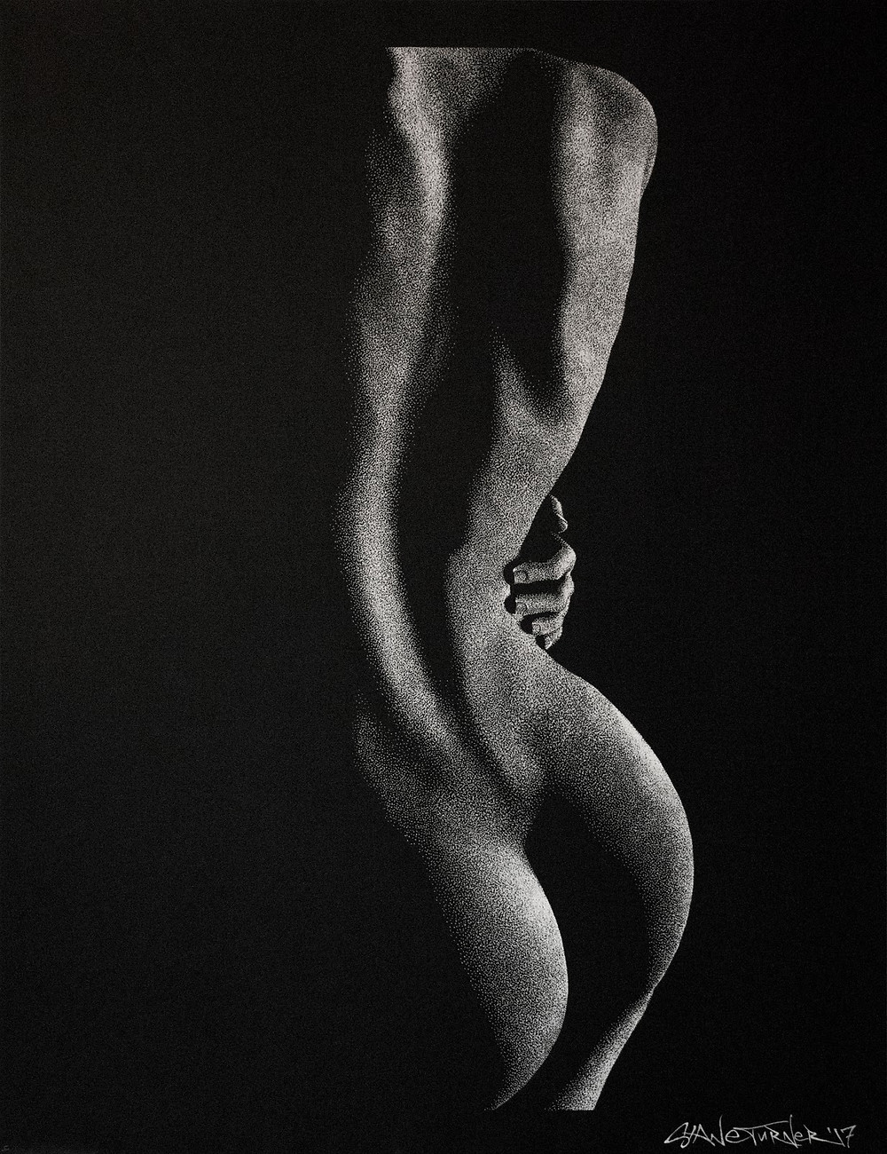 Out of the Shadows 4.0 by Shane Turner. Pointillism dot drawing of artistic nude bodyscape. Standing backside of female figure in black and white created out of dimensional light and negative space. Female figure in white ink on black paper.
