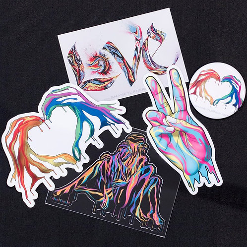 Shane Turner Art LOVE sticker pack. Stickers made from designs and paintings by artist Shane Turner