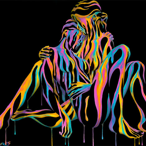 Right Here in My Arms 3.0 bv Shane Turner Art. Lesbian couple made of dripping colorful neon paint hugging in a romantic seated embrace..